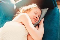 kid girl relaxing at home in weekend morning stock photos