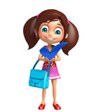 Kid girl with Right sign and school bag Royalty Free Stock Photos