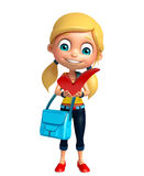 Kid girl with Right sign and schoolbag Royalty Free Stock Photo