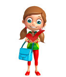 Kid girl with Right sign and schoolbag Royalty Free Stock Photography