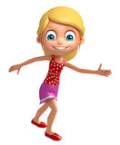 Kid girl with Running pose. 3d rendered illustration of Kid girl with Running pose Royalty Free Stock Photos