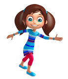 Kid girl with Running pose. 3d rendered illustration of Kid girl with Running pose Stock Images
