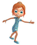 Kid girl with Running pose. 3d rendered illustration of Kid girl with Running pose Stock Photography