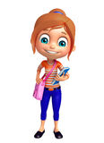 Kid girl with School bag and Book Royalty Free Stock Images