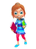 Kid girl with School bag and Book Stock Photography