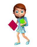 Kid girl with School bag and Book. 3d rendered illustration of kid girl with School bag and Book Stock Photography
