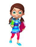 Kid girl with School bag and Book. 3d rendered illustration of kid girl with School bag and Book Stock Photo
