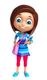 Kid girl with School bag and Book Stock Image