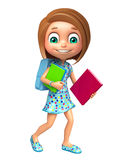 Kid girl with School bag and Book Stock Photos