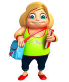 Kid girl with School bag & Book Stock Image