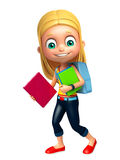 Kid girl with School bag and Book. 3d rendered illustration of kid girl with School bag and Book Royalty Free Stock Image