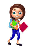 Kid girl with School bag and Book Stock Images