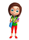 Kid girl with School bag and Book Royalty Free Stock Photos