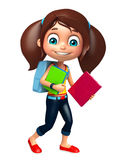 Kid girl with School bag and Book Stock Photo