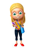 Kid girl with School bag and Book Royalty Free Stock Image