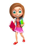 Kid girl with School bag and books. 3d rendered illustration of kid girl with School bag and books Royalty Free Stock Image