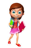 Kid girl with School bag and books. 3d rendered illustration of kid girl with School bag and books Stock Photo