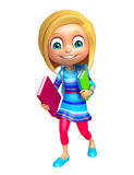 Kid girl with School bag and books Royalty Free Stock Image