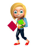 Kid girl with School bag and books. 3d rendered illustration of kid girl with School bag and books Stock Images