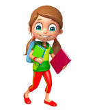 Kid girl with School bag and books. 3d rendered illustration of kid girl with School bag and books Royalty Free Stock Photography