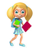 Kid girl with School bag and books Royalty Free Stock Photo