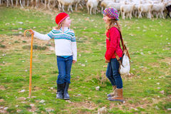 Kid girl shepherdess sisters happy with flock of sheep and stick Royalty Free Stock Photography