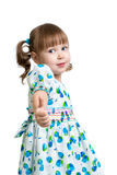 Kid girl showing thumbs up. Child girl showing thumbs up stock photos