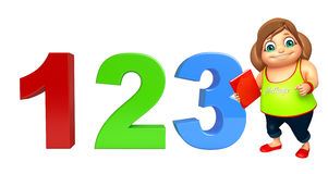 Kid girl with  123 sign & Book. 3d rendered illustration of kid girl with 123 sign Stock Photography