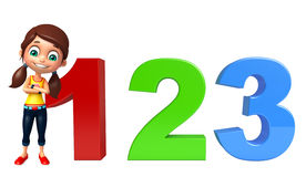Kid girl with 123 sign. 3d rendered illustration of kid girl with 123 sign Stock Images