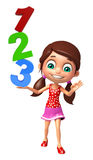 Kid girl with 123 sign Royalty Free Stock Photos