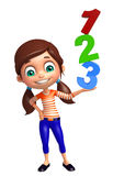 Kid girl with 123 sign. 3d rendered illustration of kid girl with 123 sign Stock Photography