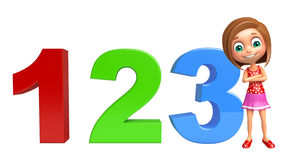 Kid girl with 123 sign. 3d rendered illustration of kid girl with 123 sign Royalty Free Stock Photo