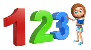 Kid girl with 123 sign. 3d rendered illustration of kid girl with 123 sign Stock Photo