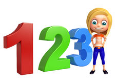 Kid girl with 123 sign Stock Images