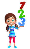 Kid girl with 123 sign Royalty Free Stock Photography