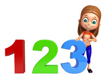 Kid girl with 123 sign. 3d rendered illustration of kid girl with 123 sign Royalty Free Stock Images