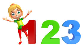 Kid girl with 123 sign. 3d rendered illustration of kid girl with 123 sign Royalty Free Stock Photography