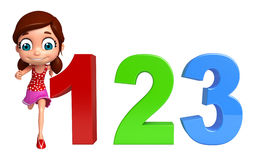 Kid girl with 123 sign Royalty Free Stock Images
