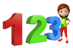 Kid girl with 123 sign Stock Photo