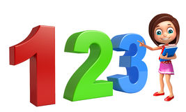 Kid girl with 123 sign. 3d rendered illustration of kid girl with 123 sign Stock Photos