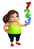Kid girl with  123 sign. 3d rendered illustration of kid girl with 123 sign Stock Image