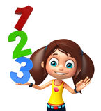 Kid girl with 123 sign. 3d rendered illustration of kid girl with 123 sign Royalty Free Stock Photos