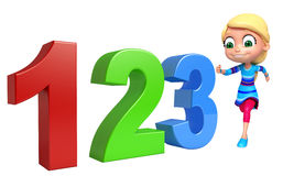 Kid girl with 123 sign. 3d rendered illustration of kid girl with 123 sign Royalty Free Stock Image