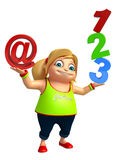 Kid girl with  123 sign &  At the rate sign Royalty Free Stock Image