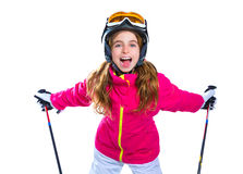 Kid girl with ski poles helmet and goggles smiling on white Stock Image