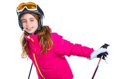 Kid girl with ski poles helmet and goggles smiling on white Stock Photo