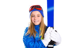 Kid girl ski with snow goggles and winter hat Royalty Free Stock Images