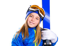 Kid girl ski with snow goggles and winter hat Stock Images