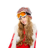 Kid girl with snow winter glasses and white fur Royalty Free Stock Images