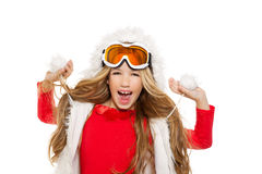 Kid girl with snow winter glasses and white fur Stock Images